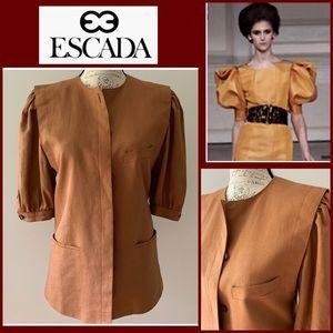 Escada Germany Brown Linen Jacket Blazer